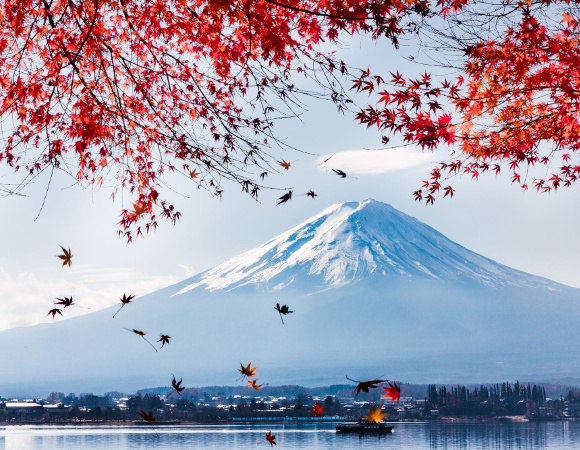Peisaj de toamna cu muntele Fuji reflectat in lac